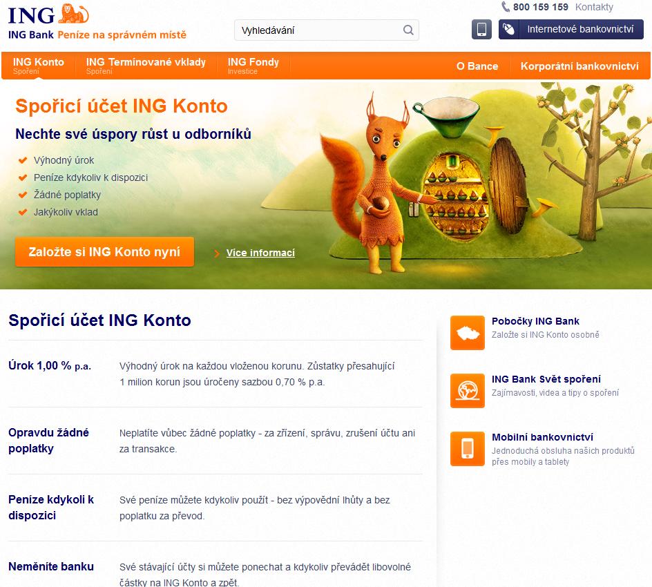 ING konto spořicí účet